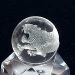 水晶丸玉彫刻 白虎(czcb003-1)