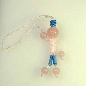 人形型ローズクオーツストラップ(ksdl001-1)