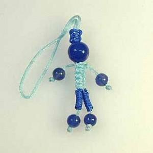 人形型青めのうストラップ(ksdl004-1)